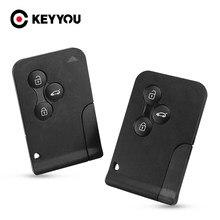 KEYYOU-carcasa de llave de tarjeta inteligente de repuesto para Renault, carcasa de llave remota con 3 botones para Renault Clio Logan Megane 2 3 Koleos Scenic