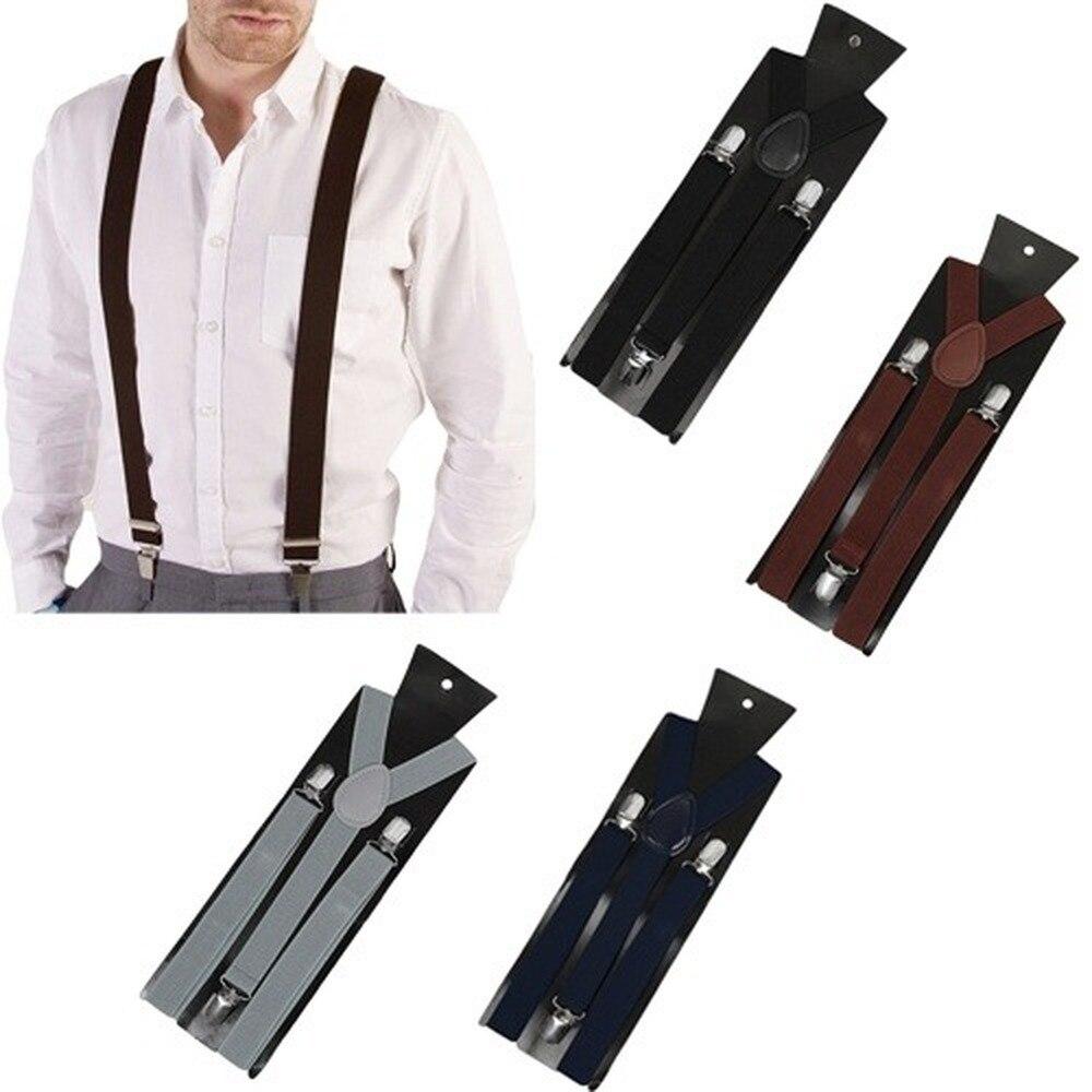 Braces Unisex Slim Womens Elastic Y-Back Adjustable Suspenders Clip On