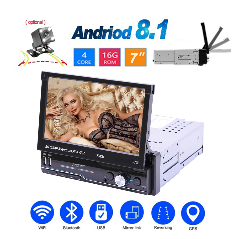 7 Inch Auto Radio Android 8.1 Gps Navigatie Wifi Usb Opladen 1 Din Hd Touch Screen Auto MP5 Speler