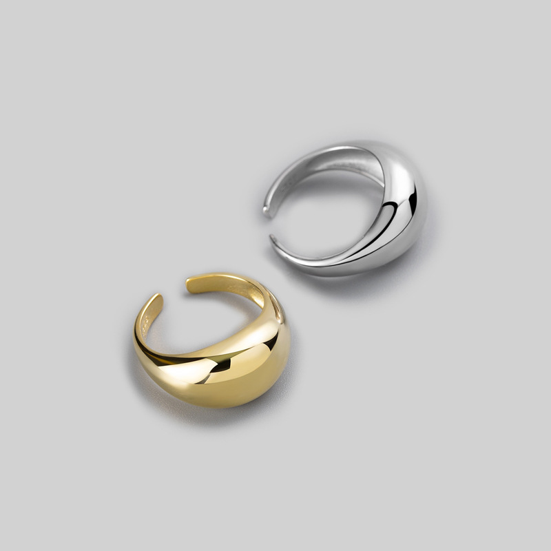 Silvology 925 Sterling Silver Convex Surface Rings For Women Glossy Water Drop Curved Wide Rings Elegant Minimalist Jewelry Gift
