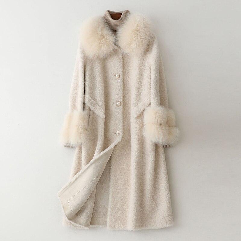 Women Coat Winter Real Fur Coat Female Fox Fur Collar Sheep Shearling Jacket Women 100% Wool Coats Manteau Femme MY4243 S