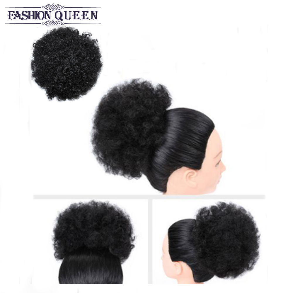 Drawstring Puff Afro Kinky Curly Ponytail African American Short Wrap Human Hair Clips In Ponytail Non-Remy Hair Extension 6inch