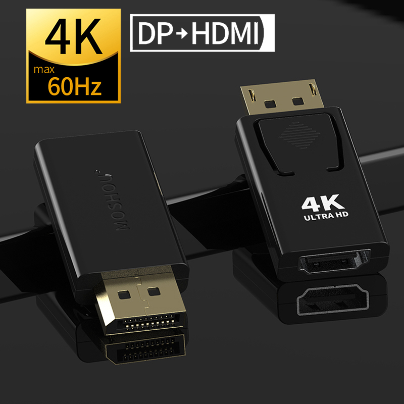DP to HDMI max 4K 60Hz Displyport Adapter Female to Male 2.0b Cable Converter MOSHOU|  - title=