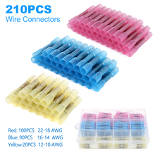 210pcs Insulated Heat Shrink Butt Auto Connectors Terminals Waterproof Electrical Wire Splice Cable Crimp Terminal AWG 22-10 Set цены