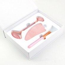 Массажер для лица розовый кварц роллер порошок Кристалл Роллер нефритовый роллер скребок Маска кисть из трех частей инструмент для подтяжк...