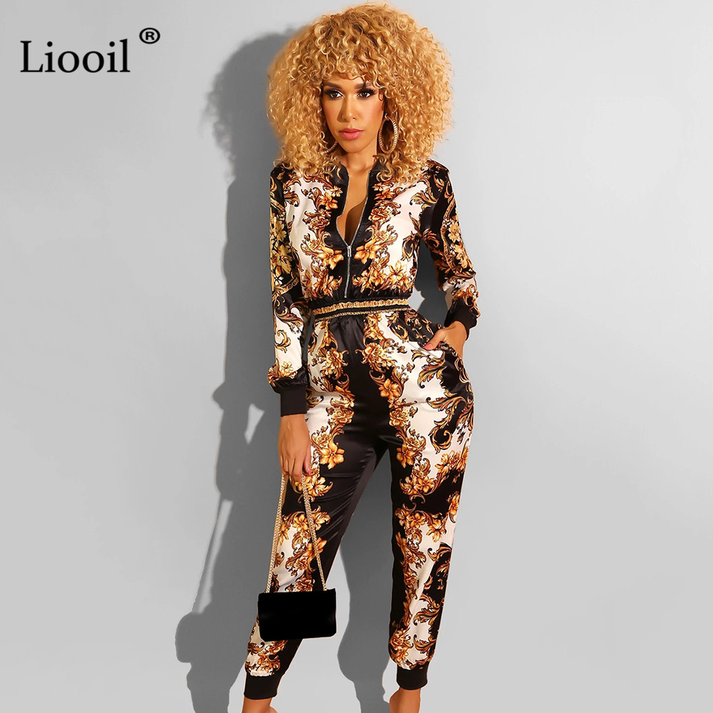 Liooil Sexy One Piece Outfits Print Zip Up Jumpsuits For Women 2019 Fall Winter Long Sleeve O Neck Party Rompers Womens Jumpsuit