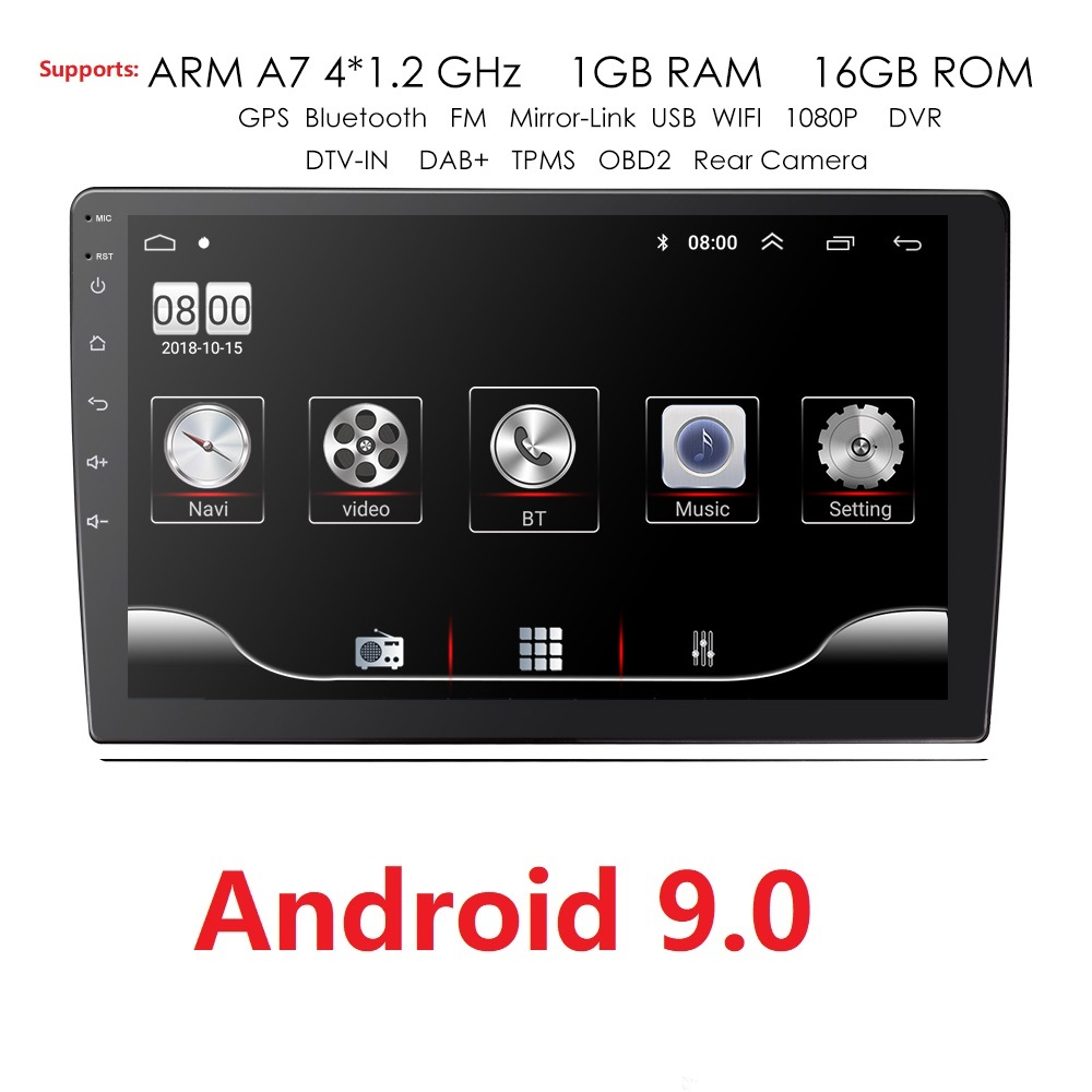 9/10.1 INCH Android 9.0 GPS Navigation Autoradio Multimedia DVD Player Bluetooth WIFI MirrorLink OBD2 Universal 2Din Car Radio image