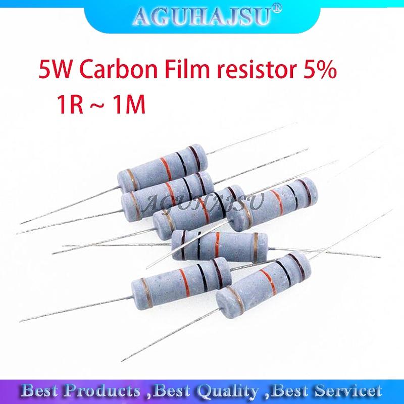 10 шт. 5 вт резистор из углеродистой пленки, 5% 1R ~ 1 м 2.2R 10R 22R 47R 51R 100R 150R 470R 1K 4,7 K 10K 47K 1 2,2 10 22 47 51 100 150 470 ом