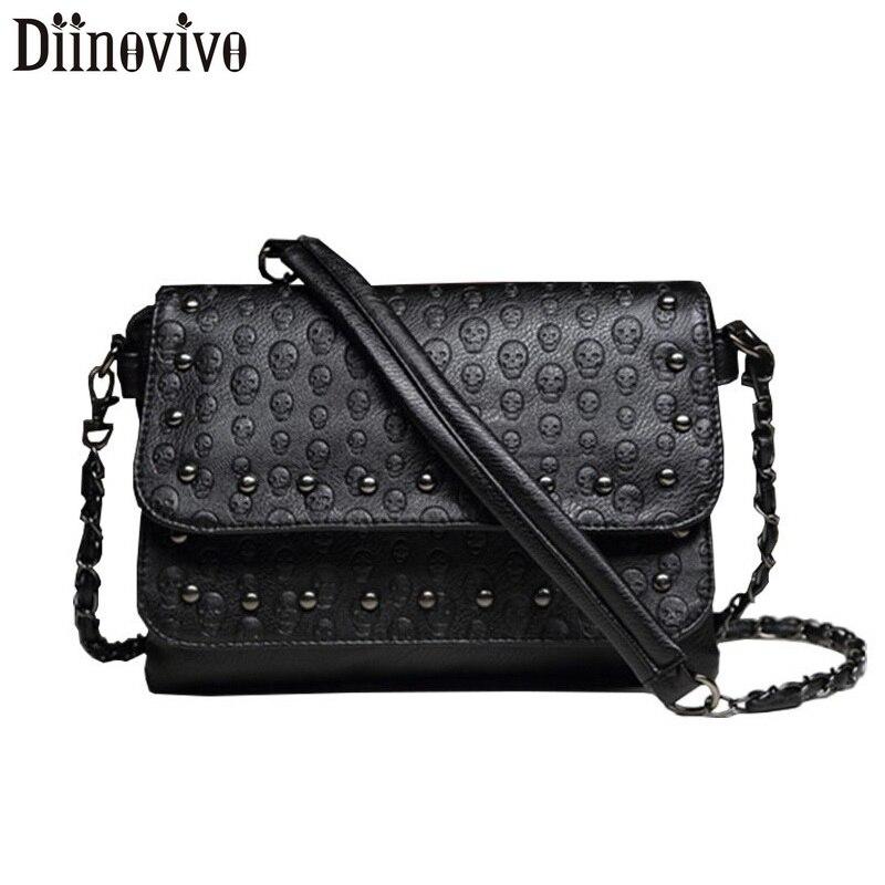 DIINOVIVO Skull Women Crssbody Bag Rivet Small Bags For Handbag Leather Shoulder Messenger Female WHDV1282