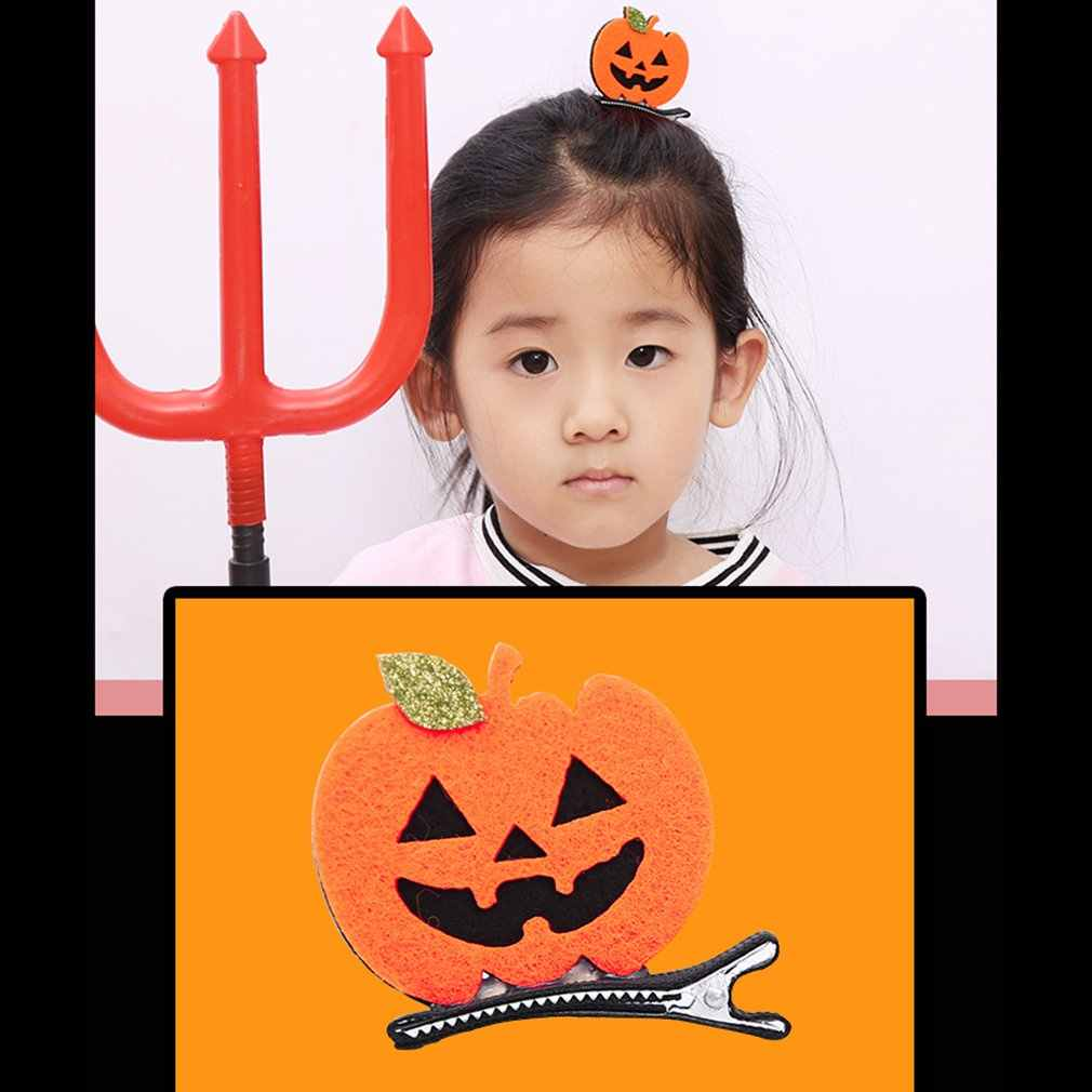 Tiga Dimensi Jepit Rambut Merah Bulan Bat Hitam Topi Labu Hantu Putih Bulang Hadiah Liburan Halloween Bola Berdandan