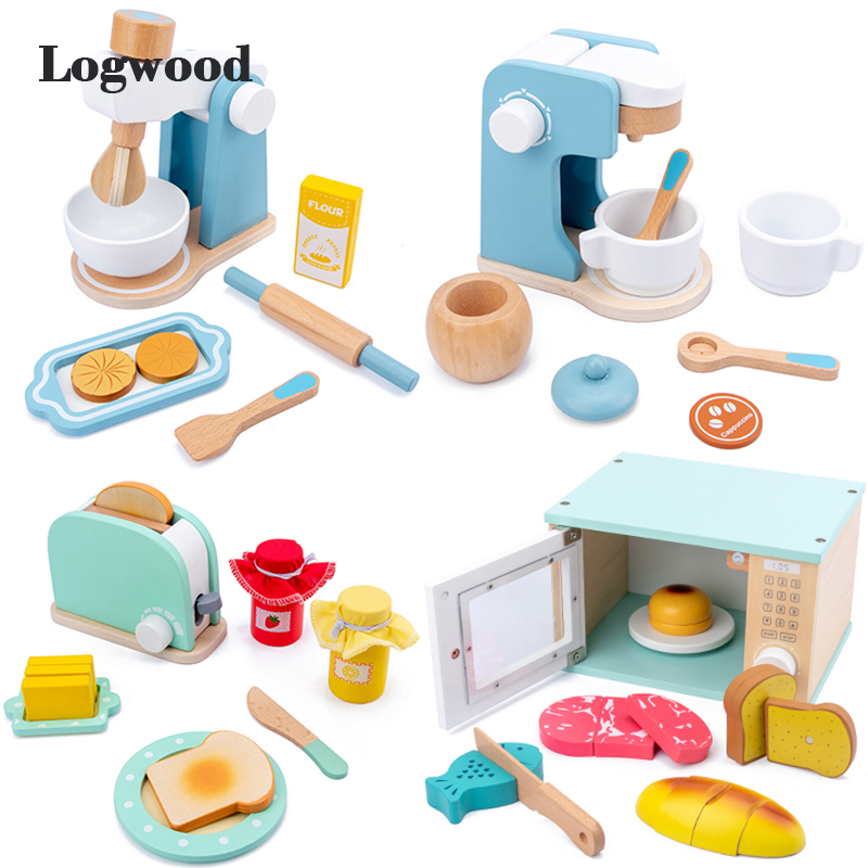 Kids Wooden Pretend Play Sets Simulation Toasters Bread Maker Coffee Machine Blender Baking Kit Game Kitchen Real Life Toys