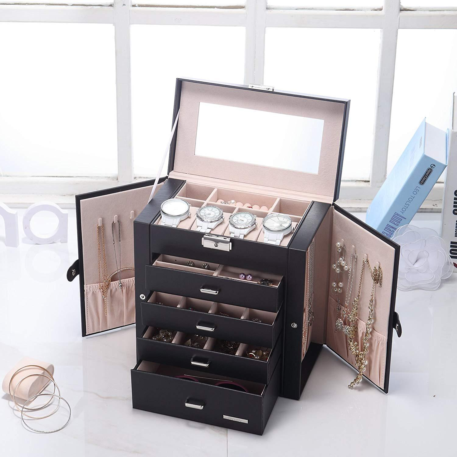 Synthetic Leather Huge Jewelry Box Mirrored Watch Organizer Necklace Ring Earring Storage Lockable Gift Case Black Storage Box B