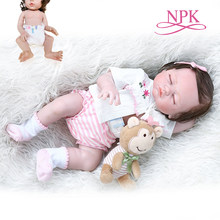 48CM sleeping bebe doll reborn sweet premie baby size doll hand detailed painting pinky look full body silicone Anatomically Cor(China)