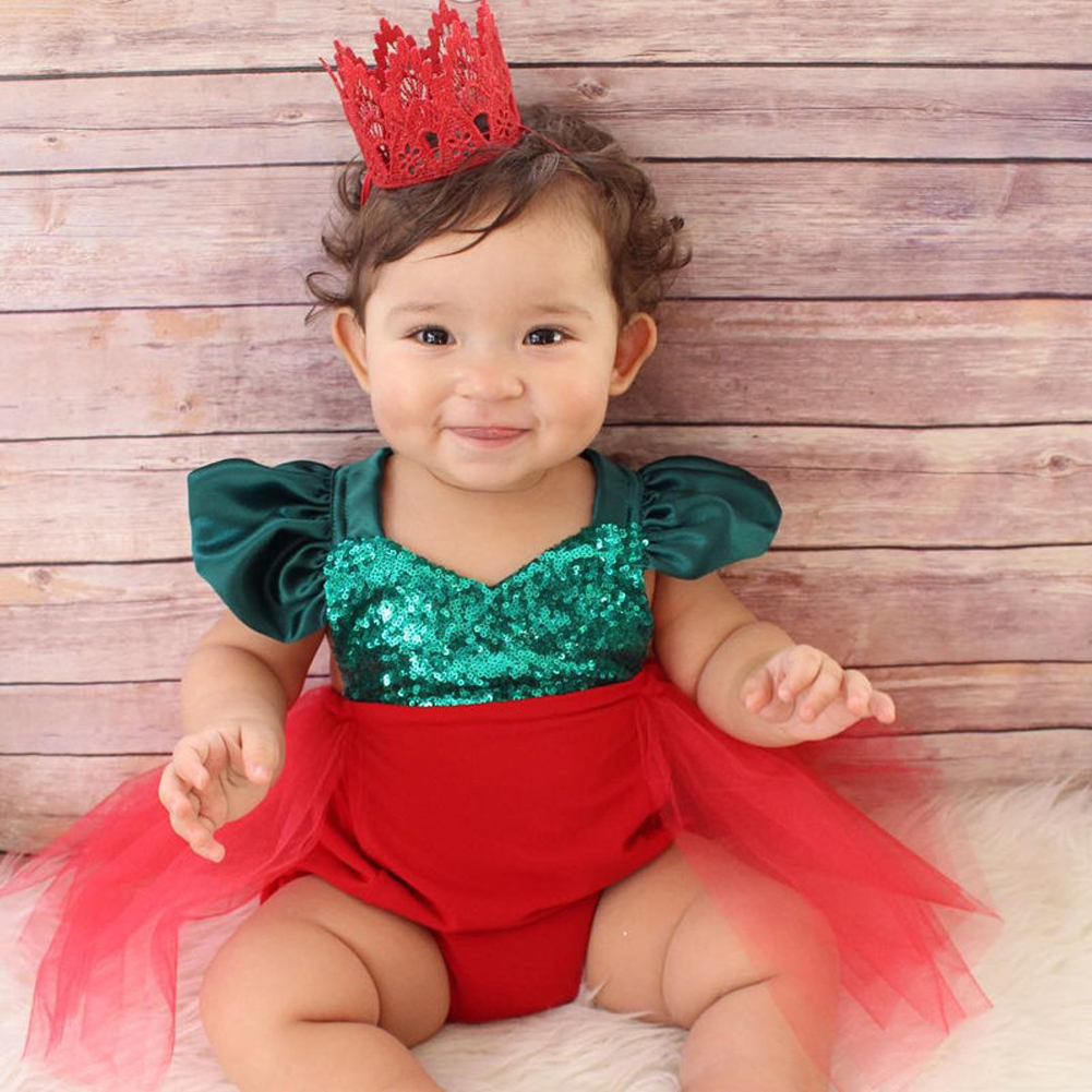 2020 New Christmas Newborn Baby Girls Tulle Bodysuit Jumpsuit Backless Party Sunsuit Outfits