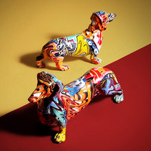 Desenho colorido moderno dachshund resina escultura simulação criativa cão de estimação arte estátua decoração para casa presente ornamento resina artesanato
