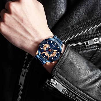 NIBOSI 2020 hommes montres haut marque de luxe montre-bracelet Quartz horloge bleu montre hommes étanche Sport chronographe Relogio Masculino
