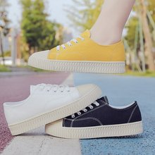 Women Canvas Shoes Autumn Flats Classic Lace Up Walking Fashion Sneakers Casual