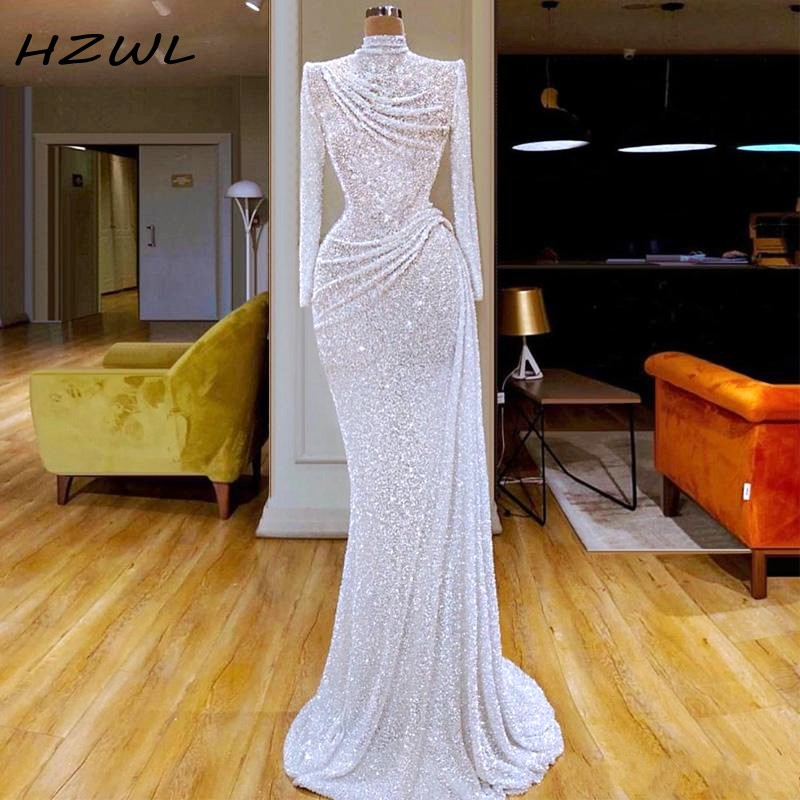 White Glitter Sequined Mermaid Evening Dresses High Neck Ruched Vestidos De Fiesta Custom Made  Long Sleeve Prom Dress Formal