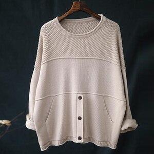 Image 3 - Johnature suéteres de punto de manga larga para mujer, jerseys holgados con cuello redondo para otoño e invierno, jerséis que combinan con todo, 2020