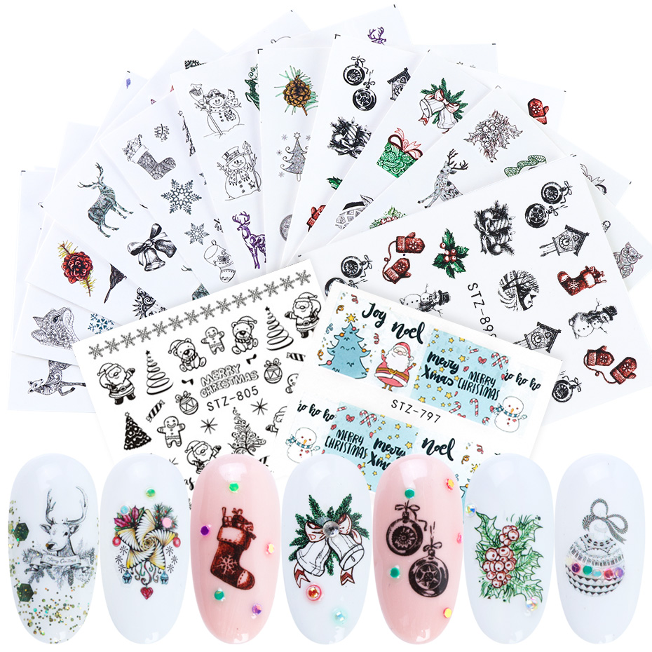 1pcs Winter Xmas Nail Sticker Water Slider Snowflake Santa Snowman Nail Art Decals Christmas New Year Decor Tips JISTZ797-905