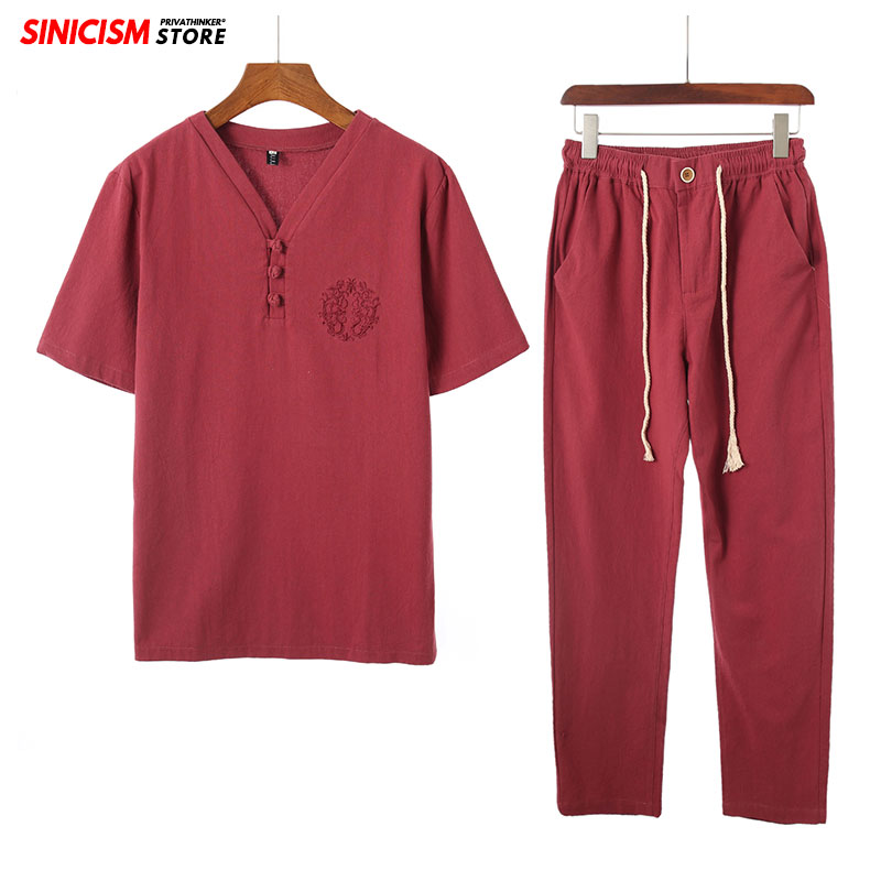 Sinicism Store Cotton Linen Embroidery Men's Sets Spring Summer Tracksuit Men 2020 Casual Pants Suit Chinese Style Male Clothes