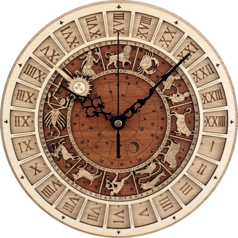 Horloge murale créative venise astronomique horloge en bois salon horloge murale horloge à Quartz 12 Constellations décoration de la maison