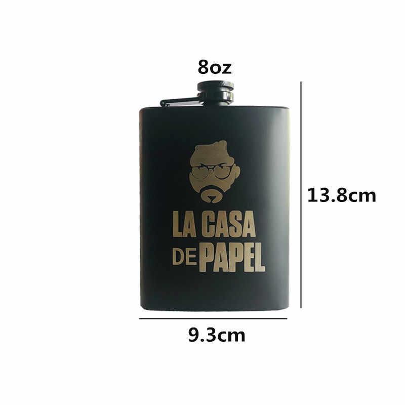 Mini 8 unzen Alle schwarz Jack Schnaps Whisky Flagon Laser La casa de papel 18/8 edelstahl Alkohol Wodka Hüfte glaskolben Wiskey Flasche