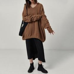 [EAM] Big Size Oversize Knitting Sweater Loose Fit V-Neck Long Batwing Sleeve Women New Fashion Tide Autumn Winter 2019 1B621 2