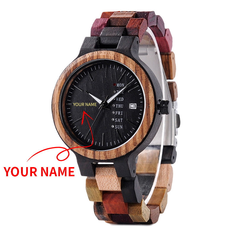 BOBO BIRD Wood Watch Men Women Quartz Week Date Display Colorful Engrave Your Name Wooden Logo Customize Valentine's Day Gift