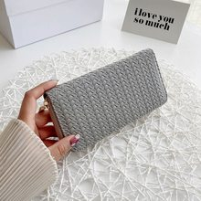 Weave Wrist Handle Phone Case Long Section Money Pocket Pouch Handbag Women Purse Card Holder Wallet