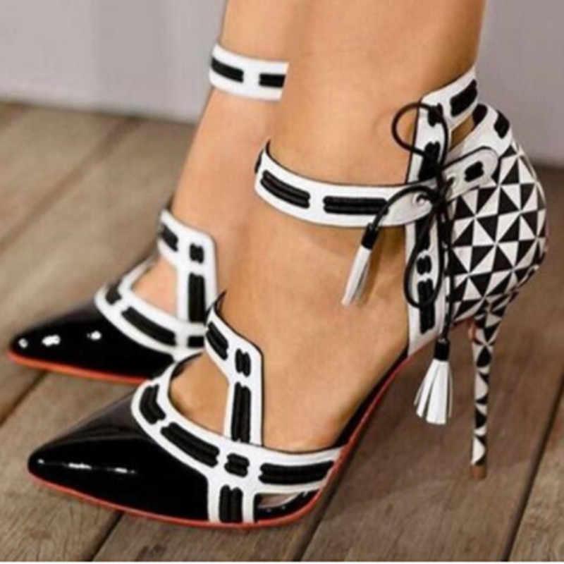 Đen Trắng Phối Màu Sắc Giày Vải Gót Sọc Tacones Zapatos De Mujer Mũi Nhọn Mỏng Giày Cao Gót Phối Ren Thời Trang Nữ Bơm