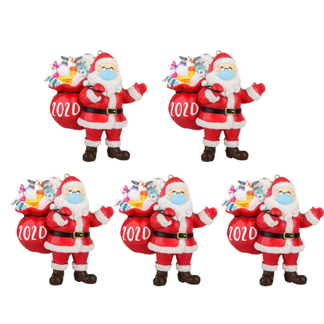 Santa Wearing Mask 2020 Christmas Tree Ornament Comes with White Satin Ribbon Funny Xmas Gift Limited Edition