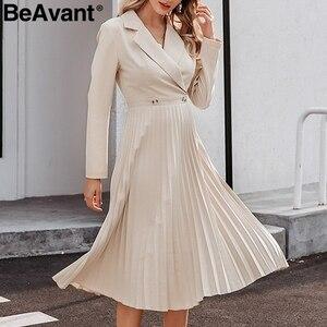 Image 2 - Женское длинное платье с отложным воротником BeAvant, элегантное однотонное Плиссированное офисное платье с длинным рукавом, шикарные вечерние платья на осень