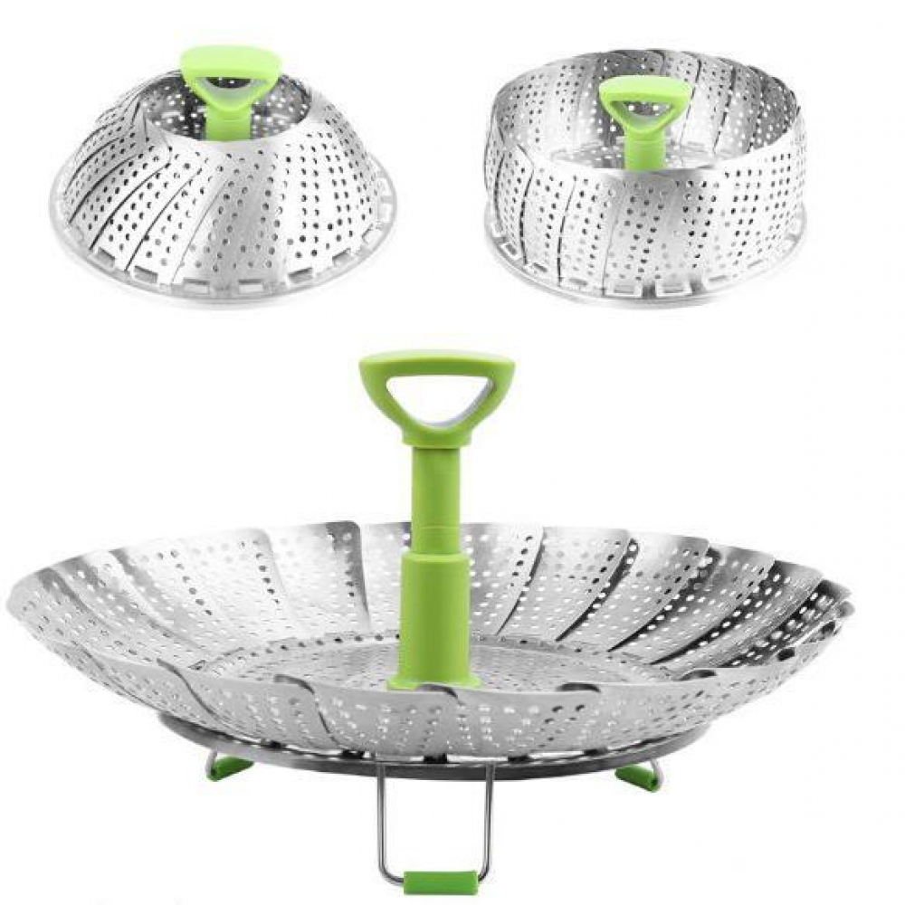 2019 Dish Steamer Cookware Steaming Food Basket Mesh Stainless Steamer Folding Food Fruit Vegetable Vapor Cooker Stainless