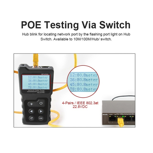 NF-8209 LCD Display Measure Length Lan Cable POE Wire Checker Cat5 Cat6 Lan Test Network Tool Scan Cable Wiremap Tester 3