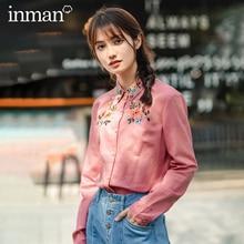 INMAN 2020 bahar yeni varış pamuk ve keten edebi işlemeli kız basit ve zarif Retro uzun kollu bluz