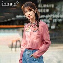 INMAN 2020 wiosna nowy nabytek literacki haftowane bawełniane i lniane dziewczęcy proste i eleganckie Retro z długim rękawem bluzka