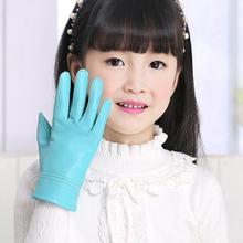 Детские осенне-зимние утепленные кожаные перчатки с флисовой подкладкой для мальчиков и девочек, детские перчатки из натуральной овечьей кожи R1879