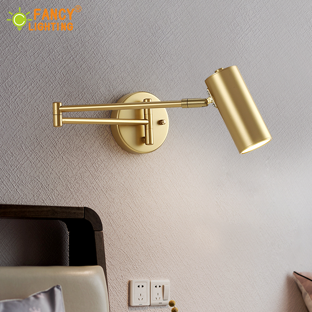 (E27 Bulb For Free) Led wall lamp Golden wall light fixture Adjustable Angle/ Length wall sconce bedroom/bathroom/mirror lamp(China)