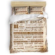 Juego de fundas de edredón de fondo Vintage con reglas familiares juego de cama de 2/3/4 Uds juego de sábanas funda para almohada