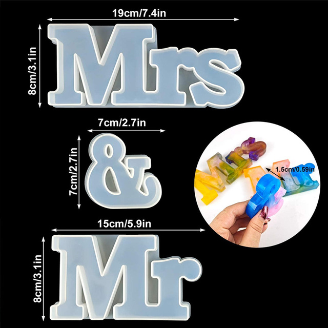 Фото 3 шт г н и миссис смолы формы силиконовые слово знак эпоксидной цена
