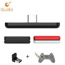 GuliKit adaptador transmisor NS07 inalámbrico con Bluetooth, dispositivo transmisor USB tipo C de baja latencia para Switch/Switch Lite/PS4/PC