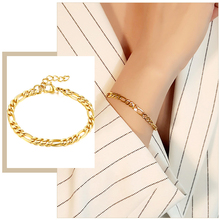 Simple Figaro Flat Snake Chain Bracelets for Women, Gold Color Stainless Steel Wrist Jewelry Length Adjustable