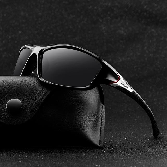 Black lens polarized sunglasses