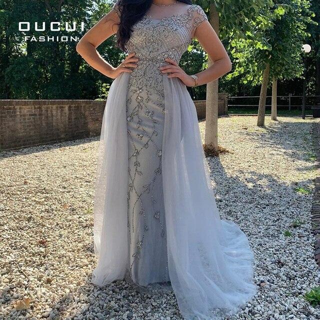 Женское элегантное длинное вечернее платье со стразами, расшитое бисером, с рукавом крылышком, серебристое вечернее платье из тюля, вечерние платья, для женщин