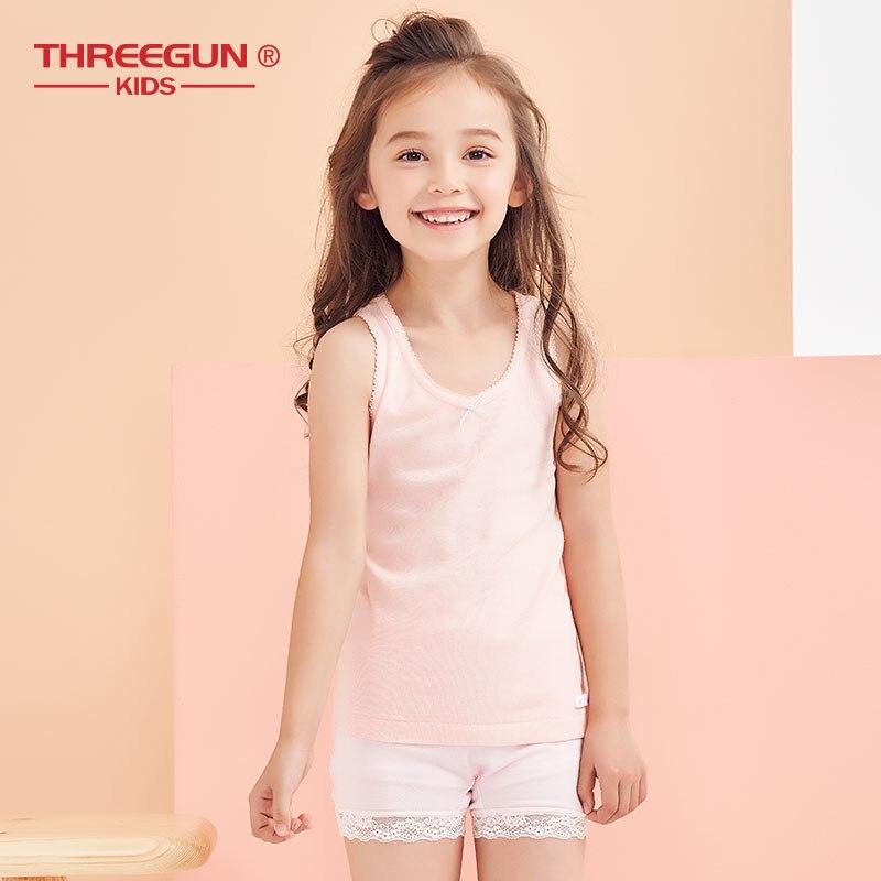 THREEGUN Cotton Girls Vest Kids Teenage Camisole Children Tops Summer  Casual Girl Solid Underwear Undershirt Girls Tank-Leather bag