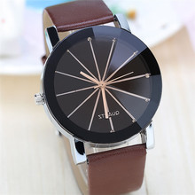 Couple Watch Leather Belt Minimalist Fashion Radial Ray Couple Gift Trending Lover Watch Gifts for Men Women Wristwatches Unique fashion creative quartz watch personality minimalist leather normal led watch men women unisex wristwatches couple clock lz2209