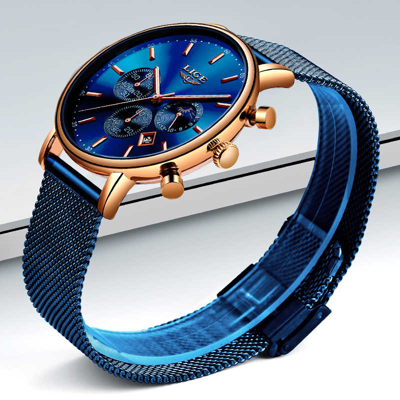 LIGE Mens Relógios Top Marca de Luxo Relógio Do Esporte Ultrafinos Malha Casuais À Prova D' Água Homens Relógio Azul Relógio de Quartzo Relogio masculino