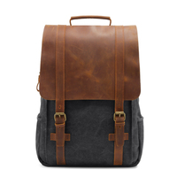 2020 New Vintage Men Hasp Backpack England Style Fashion Retro Crazy Horse Leather Backpacks Men's Bag Mochila Male Bolsa Sac