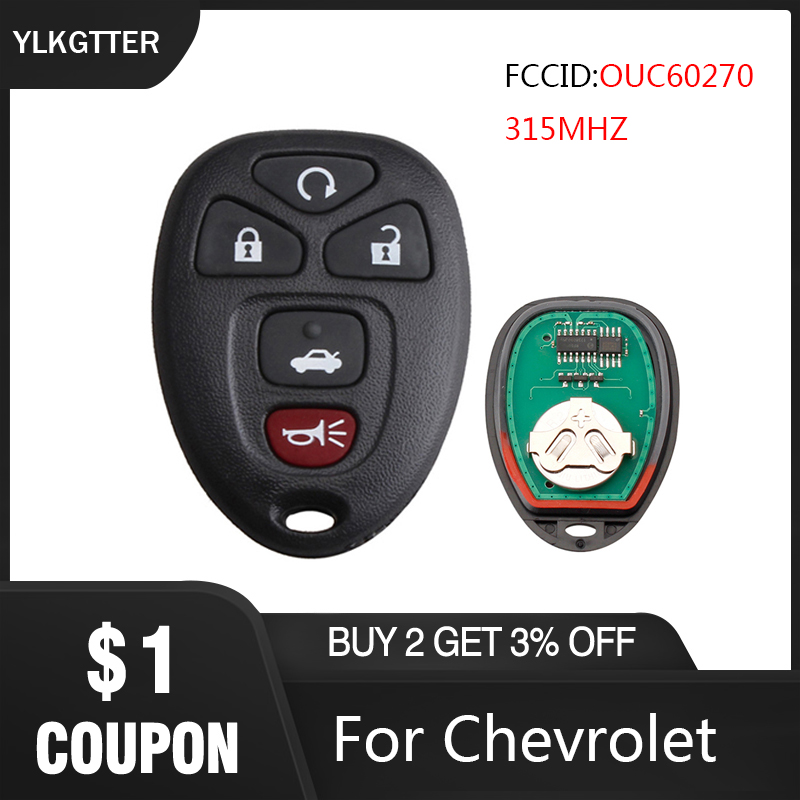 YLKGTTER Popular Auto Car Key With 5 Buttons For Chevrolet Suburban Tahoe GMC Yukon Cadillac Escalade FCCID:OUC60270 315MHZ title=